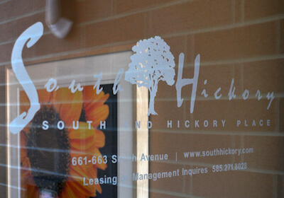South and Hickory glass door