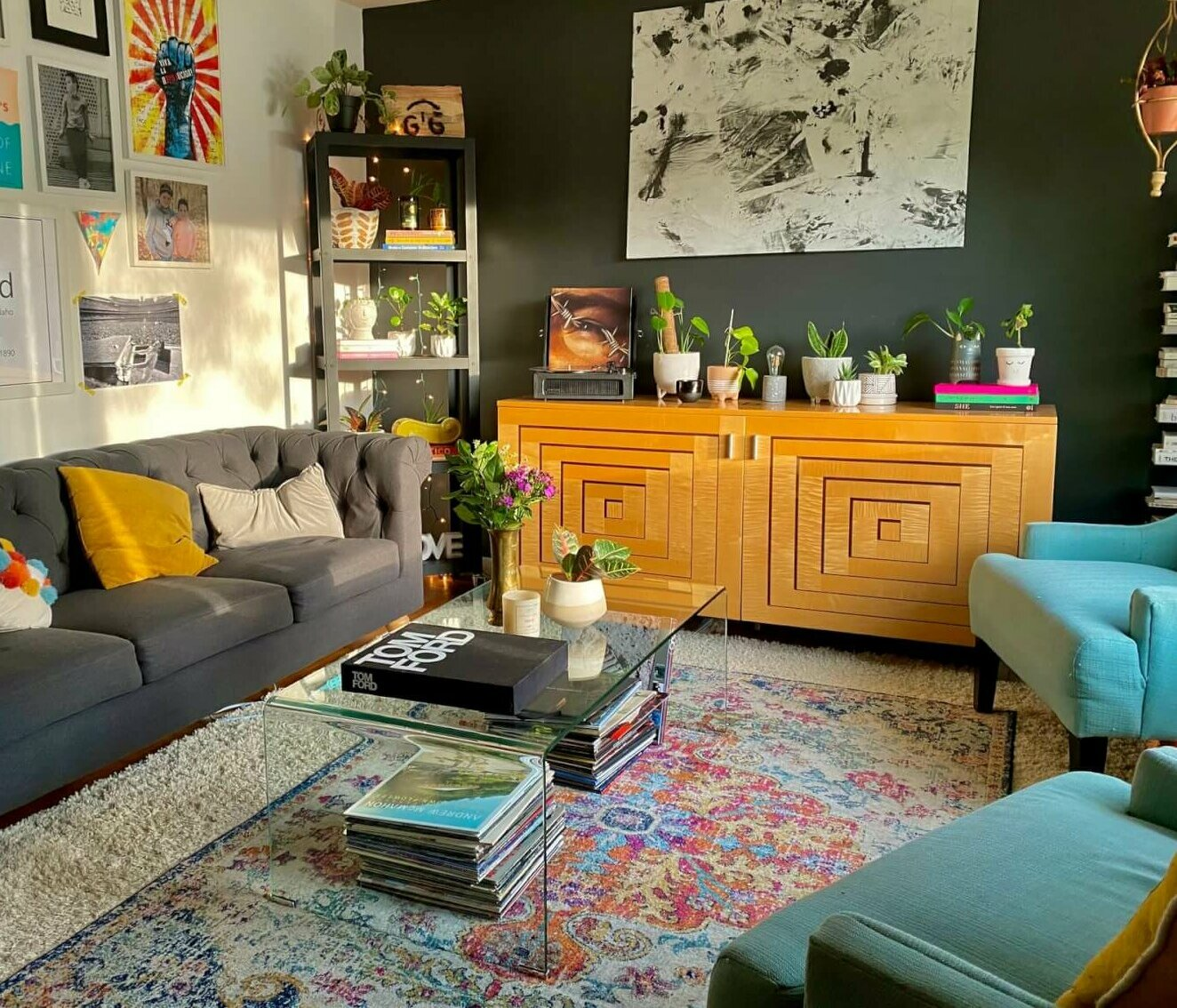 Photo of a living room with layered rugs. Image credit: LeeAnn Cline